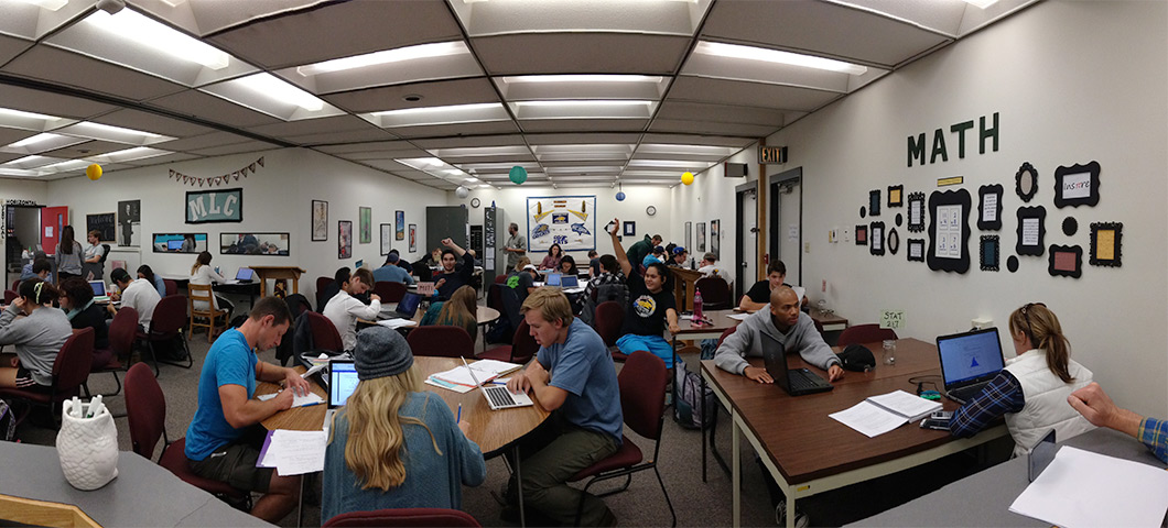 Panorama of students working in the MLC